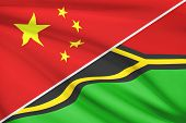 Series Of Ruffled Flags. China And Republic Of Vanuatu.