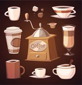 Isolated coffee objects. Vector image
