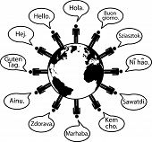 Earth People Translate Languages Say Hello