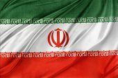 Closeup of silky Iranian flag