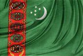 Closeup of silky Turkmenistan flag