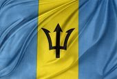 Closeup of silky Barbados flag