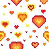 Seamless retro pixel game heart pattern