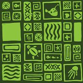 stock photo of tiki  - Seamless light dark green tiki pattern vector - JPG
