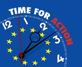 European Flag Clock With Words Time For Action On Its Face