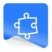 puzzle blue sticker icon