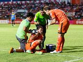 Sisaket Thailand-may 21: Santirat Viang-in Of Sisaket Fc. (orange) In Action During Thaicom Fa Cup B