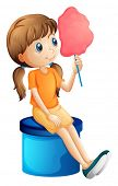 stock photo of candy cotton  - Illustration of a young woman eating a cotton candy on a white background - JPG