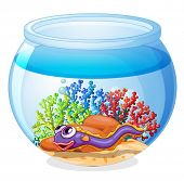 Illustration of an eel fish inside the aquarium on a white background