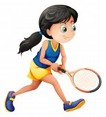 Illustration of a young female player playing tennis on a white background