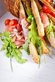 Grissini with prosciutto crudo and vegetables
