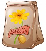 Illustration of a pack of sunflower seeds on a white background