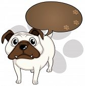 Illustration of a dog with an empty thought on a white background