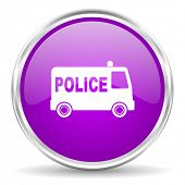 police pink glossy icon