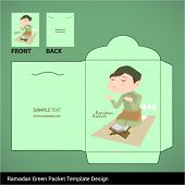 Vector Muslim Boy Praying Hari Raya Ramadan Money Green Packet Design. Translation: Ramadan Kareem -