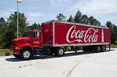 JACKSONVILLE, FL - MAY 20, 2014: A red Coca cola truck. The Coca-Cola Company is an American beverag