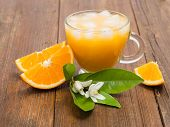Cup Of Glass Of Orange Juice With Flower Of Orange Tree And Slices Of Fruits