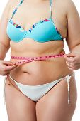Body Detail Of Overweight Girl In Bikini.