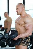 Middleaged bodybuilder in shorts raises dumbbells near mirror