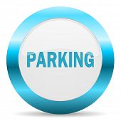 parking blue glossy icon