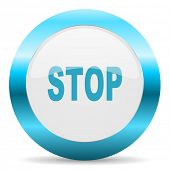 stop blue glossy icon