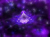 Star abstract flower on a mysterious shimmering background