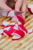 Slicing Fresh Radishes