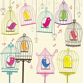 Retro Lovely Birdcage - Illustration