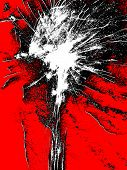 Black And White Abstract Bursting On Red Background.