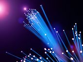 Optical fibers of fiber optic cable. Internet technology