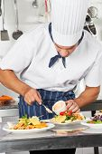 Young chef garnishing dish with mayonnaise in commercial kitchen