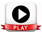 play game button or video clip or watch movie online or in live stream, multimedia