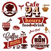 food and restaurant labels icons