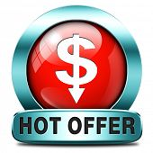 hot offer icon or sign for online internet web shop. Webshop shopping sales button announcing bargai