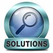 solutions solve problems and search and find a solution icon button or sign