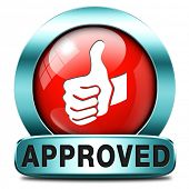 approved thumbs up passed test and access granted approval and accepted accredited button or icon