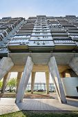 MOSCOW, RUSSIA - MAY 8, 2014: House on chicken legs. This 25-storey residential building is built on
