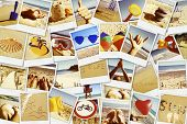 mosaic with pictures of different summer scenes in vintage style.