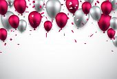 Celebration background with colorful balloons and confetti. Vector illustration.