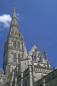 Spire of the cathedral at Salisbury, England