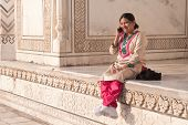 Traditionally Dressed Indian Woman Chatting Happily Bright Morning Taj-mahal