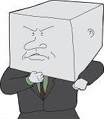 stock photo of headstrong  - Stubborn business person with block head cartoon - JPG