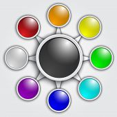 Vector business graphic template with rainbow color circles
