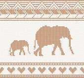 knitted pattern with elephant seamless vector illustration