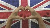Hands Heart Symbol UK Flag
