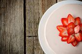 foto of cheesecake  - cheesecake with strawberry in white wood background - JPG