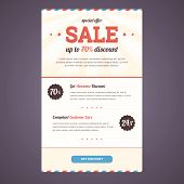 Newsletter template design in flat style with discount offer.