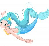 Cute Young Mermaid swimming