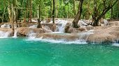 Jangle Landscape With Amazing Turquoise Water Of Kuang Si Cascade Waterfall At Tropical Rain Forest