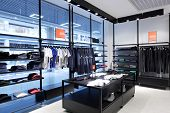 pic of showrooms  - luxury and fashionable brand new interior of cloth store - JPG
